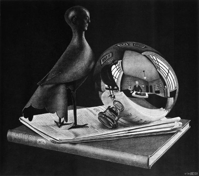 A figurine of a Persian bird-man stands on newsprint and smiles at a narrow-necked vase, which is polished to a mirror sheen. Reflected in the vase is the bird-man, and Escher himself doing the sketch, with a room around him.