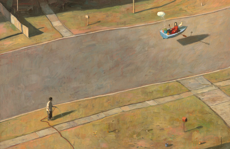 Painting of a suburban street. A woman in a red dress rows a floating blue rowboat down the asphalt road, trailed by a tiny cloud that is watering the potted plants on the boat's stern. A man watering his lawn with a hose watches her pass by.