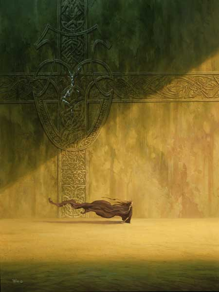 Fine art painting.  A beam of yellow light cuts across an austere stone wall, carved into complicated Celtic-like knotwork. A woman strides towards the light, her flowing brown hair mingling with her long, trailing robe.