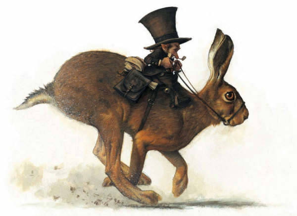 Fine art painting. A leprechaun in a top hat rides a brown rabbit, saddle, bridle and all.