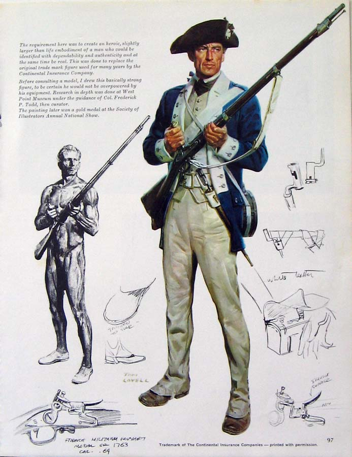 Fine art illustration of an American 18th century soldier, plus sketches and studies.