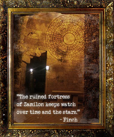 Digital art. A gold-framed picture of a brick wall in ancient ruin, containing a hole shaped like a doorway. Two lamps light the gaping darkness in the doorway. The image of a circular mandala/compass is inprinted on the wall's top right section. At the bottom of the image, in white text: The ruined fortress of Zamilon keeps watch over time and the stars. - Finch
