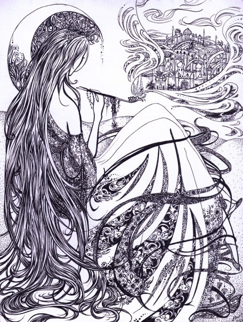 Fine art in pen, monochrome. A woman sits with her back to us, pondering. A long elegant pipe is in hand, which is exhaling a vision of an oriental city in billowing smoke. The woman's long, straight hair mingles with the folds of her luxurious dress, and her head is crowned by the crescent moon.