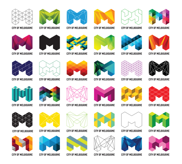 Graphic design. 36 logo designs in a 6x6 grid, each one a stylized 'M' shape, built of colourful blocks. The logo identity for the City of Melbourne, Australia.