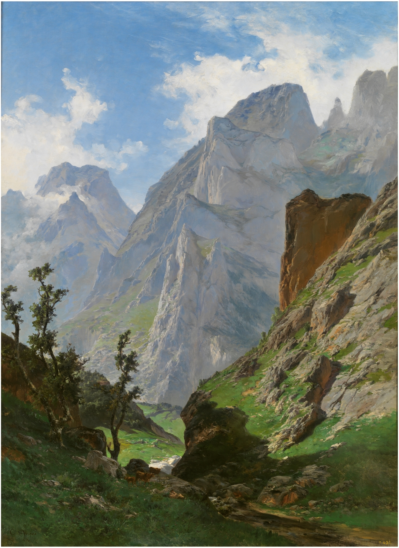 Oil painting. Steep mountains rise up into the sky, green grass and sparse trees giving way to naked rock face. White clouds crown those bare peaks amidst a blue sky.