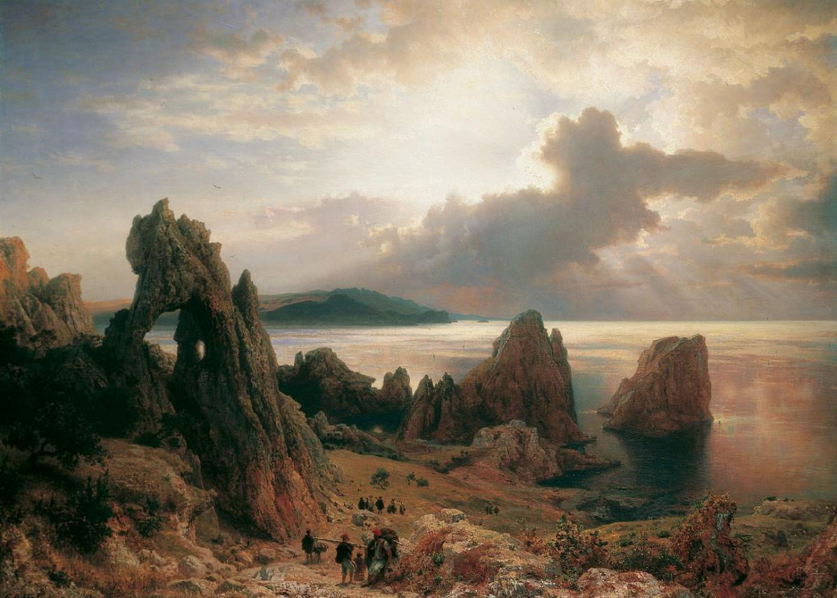 Fine art painting. A rugged, rocky coastline scattered with craggy rock formations, with an ocean bay and a dark headland in the background. Several travellers on foot stand on the slope of the coastline, near an arch of stone. The sun shines from behind dark clouds to illuminate the sea in silver.
