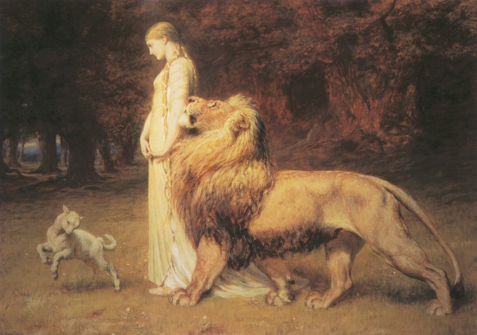 Fine art painting. The maiden Una, blonde hair braided and robed in a long white gown, walks through the woods with a stately lion by her side. Before them frolics a little lamb.