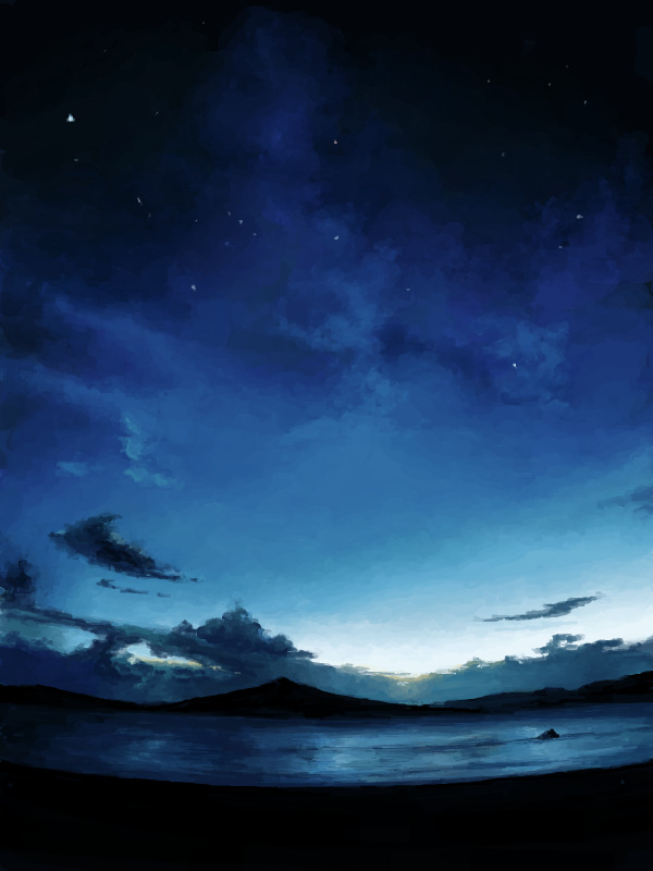 Digital painting. Deep blue sky stands over waters, surrounded by gloomy mountains. The horizon is stained with dark clouds, back-lit by sunset afterglow. Brilliant white stars peer through the gauzy blue clouds.