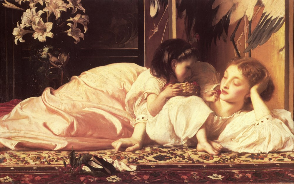 Classical painting of a European mother and daughter lounging on a couch lavishly woven with a floral design. The mother reclines on her side, head propped in hand, her simple, creamy gown lying about her in billows. The little girl, also dressed in a white frock, leans against her mother's breast with knees against her chest, clutching a woven basket of cherries. She feeds her mother a cherry. Behind them is a vase of white lilies, and a painting of white storks.