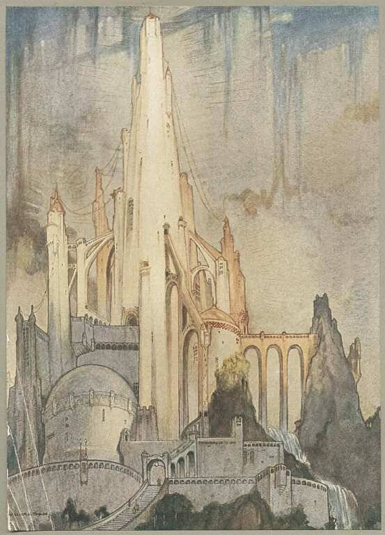 Fine art illustration. A graceful temple stands upon a mountainside. The temple's white tower rises upon flying buttresses and secondary towers; it glows in the sunlight against a dusky sky. An arched bridge leads from an adjacent cliff to the temple. Below it is the rest of the city shrouded in shadows, rising towards it in tiers and battlements.