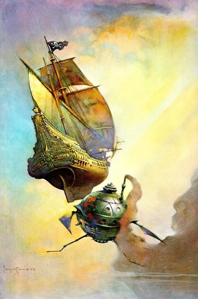 Fine art painting. A three-masted galleon sails through a fantastic sky, all sails unfurled. A Jolly Roger flag flies from its mainmast, and its stern is elaborately carved with motifs. Behind it sneaks a spherical metal submersible, bristling with spindly insectoid appendages. A stream of smoke issuing from its exhaust pipe, obscuring its approach to the galleon.