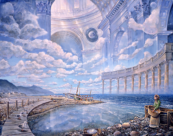 Fine art illustration of a fantastical landscape. A girl in a dress, carrying a basket, pauses on this side of the seashore by a wooden boat. The shore is littered with huge seashells amidst jewels. A pier arcs from the shore over the mouth of a river and onto the other side of the seashore, where sailboats are moored. A small, colourful crowd gathers around them. The bay continues around, with mountains in the backdrop; but up from the waters rises a colonnade like ramparts protecting the bay. In the sky above this colonnade rises a vision of a great white hall, gleaming with sunlight; a wondrous vision limned with clouds.