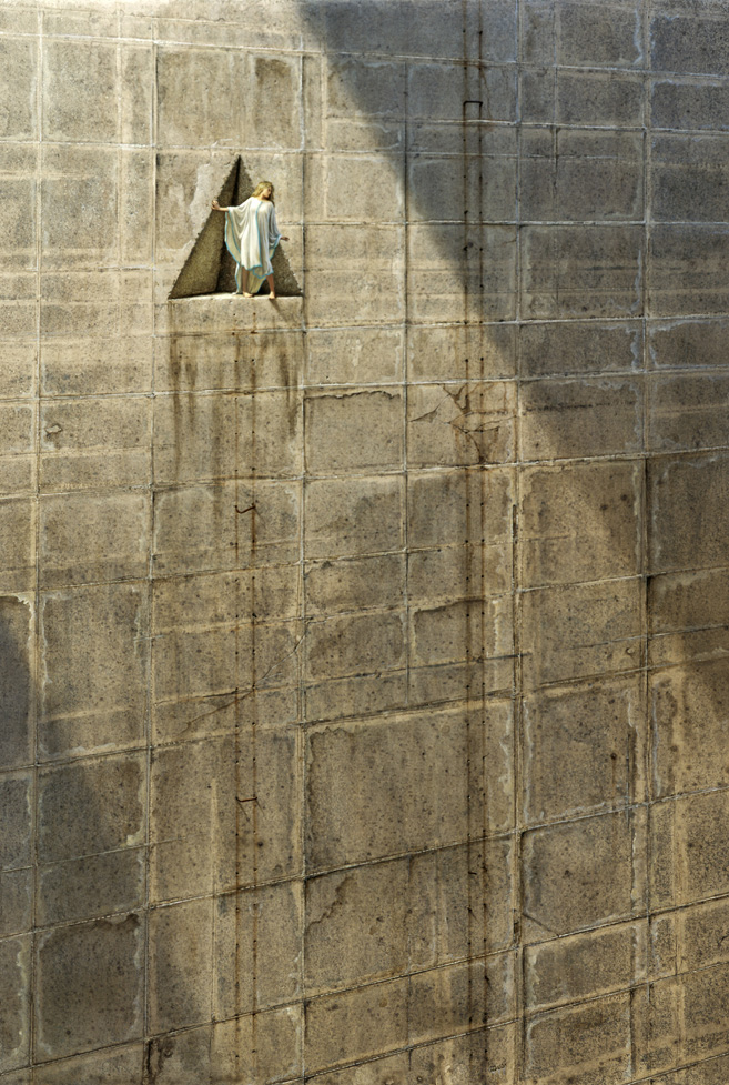 Fantasy painting. A beam of light pours down a sheer stone wall, mottled and stained with age. A shallow, triangular-shaped recess has been cut into this otherwise unbroken wall. A girl in a white robe stands on the edge of this recess, gripping its sloping side, looking down into the chasm.