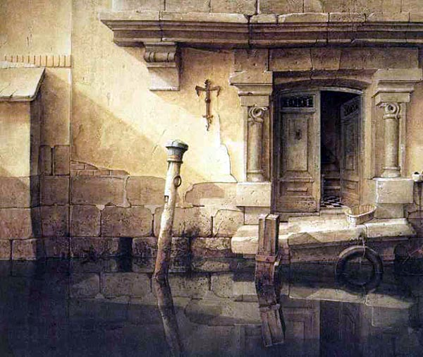 Fine art painting of a broken-down, abandoned architectural landscape. The stone walls of a building rise out of still reflective waters. A doorway with flanking columns is set into the wall, one door closed, the other ajar, peering into dim interiors. The lintel above the doors is cracked; the landing broken and tilting into the waters. A buffer wheel-tyre hangs off the landing; a pole (for securing boats) lists in the water. A beam of sunlight shines down and casts light and shadow upon this forgotten scene.