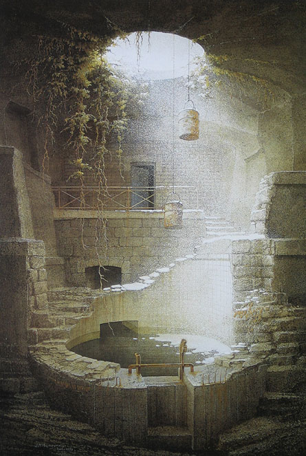 Fine art painting of a covered well, surrounded by walls of brick and stone. Stone steps surround the well and lead up a staircase to a door, ajar, in the wall. Above the well is a circular skylight, with foliaged roots of plants hanging down. Also hanging through the skylight are two buckets, suspended above the water. A cold winter light shines down on the well, and snow dusts the stone steps and the surface of the still water.