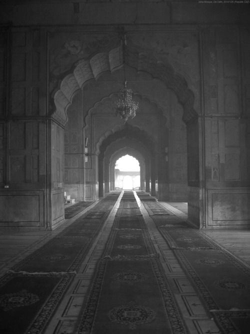 "Photograph (black and white). We stand in the middle of a corridor in a palatial building, looking down the long hallway towards an open portal. The arches along this corridor are in an ""orientalist"" arching shape; the walls are sumptuously embellished with wallpaper and gilt relief. The floor is covered with oriental carpets, and an ornamented chandelier hangs in the midst of the hallway. The portal at the end of the corridor is a bright window of light into this shadowed interior."
