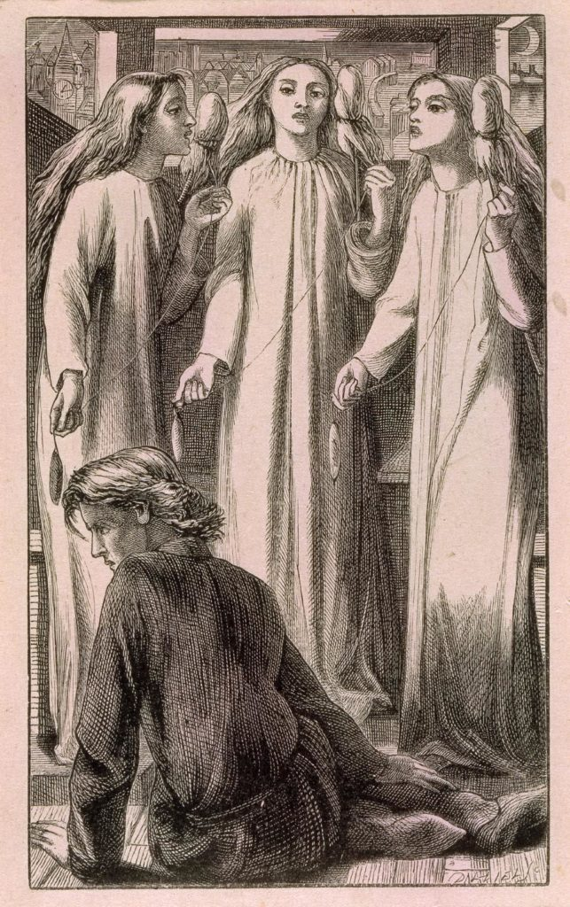 Engraving. Three maidens in plain white robes stand in a circle. Each holds in her left hand a spool of thread or hair; in her right hand the end of the thread attached to a spindle. A young man in a dark tunic sits at their feet: his face is turned away from them, his expression grim. Together, the three women chant some unheard incantation over the youth.