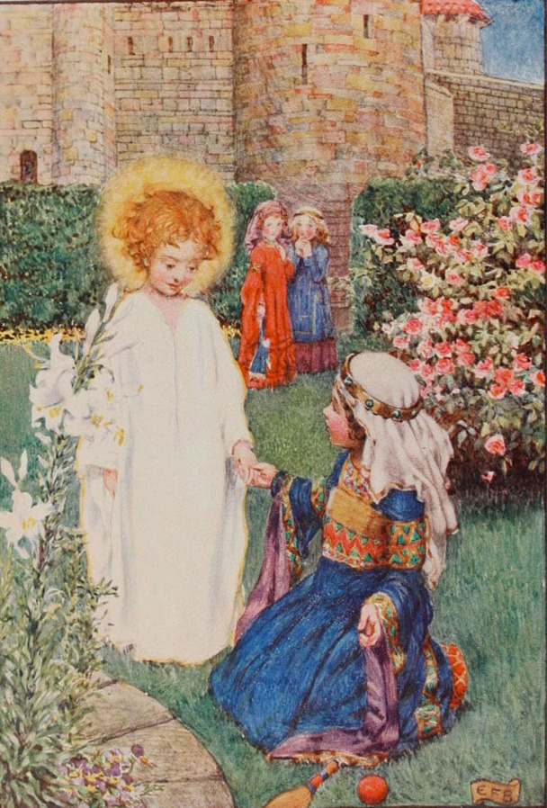 Fine art painting of a mediaeval scene. A young girl kneels in a garden of flowers inside a castle. She is dressed like a royal princess -- a blue gown with long sleeves, a colourful sash, and a headdress fixed by a little tiara. An angel-child stands next to her, robed in white, blonde head surrounded by a halo. The angel is holding the princess-girl's hand, smiling serenely, while the princess looks upon the angel with surprise and wonder. In the background, two other girl children, robed in red and blue in similar styles as the princess, look on in hushed surprise.