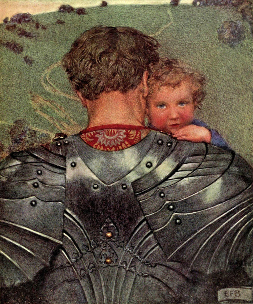 Fine art painting. A knight carries a toddler, facing a green meadow. His back is to the viewer, his face hidden, and we see the polished dark gray plate and rivets of his armour, and the lavish brocade of his red tunic, the neckline peeking out from the armour. The red-cheeked, curly-haired toddler looks back toward the viewer: face touching the knight's, a hand on the knight's shoulder, a contented look on the face. A green meadow lies beyond them, dotted with bushes, a path winding through the grass.