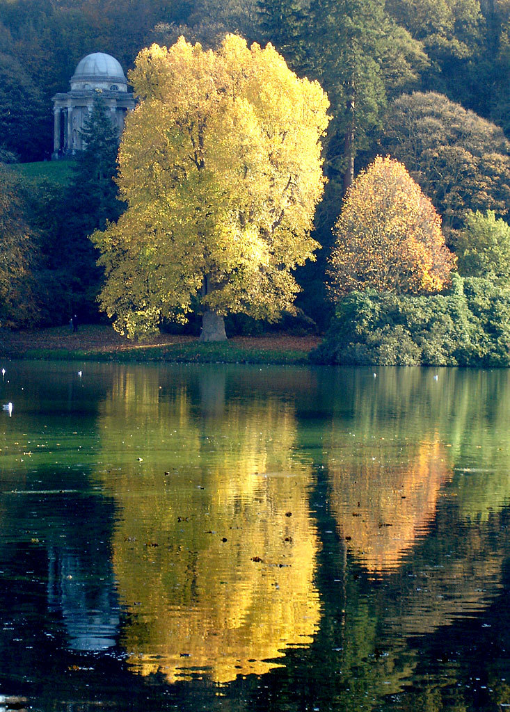 Photograph. Two trees stand upon the bank of a still lake, both clad in yellow and gold leaves of autumn. More muted green bushes and other trees flank them on all sides. Nearby, on a rise, is a rotunda of white stone, dome and pillars like a pale ghost next to the greenery. All is reflected in the still waters of the lake.